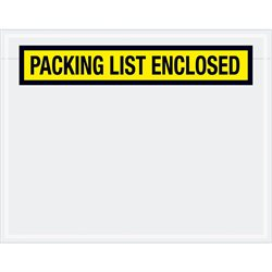"7 x 5 1/2"" Yellow ""Packing List Enclosed"" Envelopes"