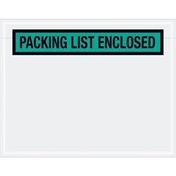 """7 x 5 1/2"""" Green """"Packing List Enclosed"""" Envelopes"""
