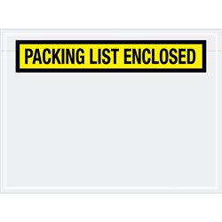 "6 3/4 x 5"" Yellow ""Packing List Enclosed"" Envelopes"