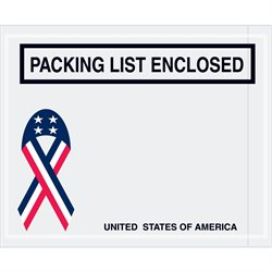 "4 1/2 x 5 1/2"" U.S.A. Ribbon ""Packing List Enclosed"" Envelopes"