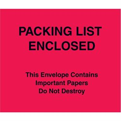 "7 x 6"" Red (Paper Face) ""Packing List Enclosed"" Important Papers Enclosed Envelopes"