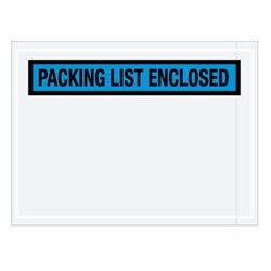 "4 1/2 x 6"" Blue ""Packing List Enclosed"" Envelopes"