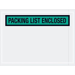 """4 1/2 x 6"""" Green """"Packing List Enclosed"""" Envelopes"""
