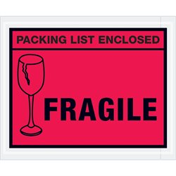 "4 1/2 x 5 1/2"" Red ""Packing List Enclosed - Fragile"" Envelopes"