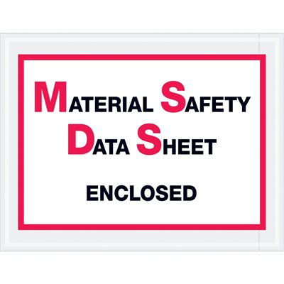 "6 1/2 x 5"" ""Material Safety Data Sheet Enclosed"" Envelopes"