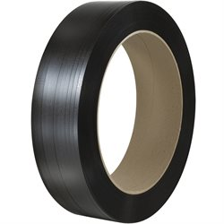 "1/2"" x .017 x 9000' Black 16 x 6"" Core Hand Grade Polypropylene Strapping - Embossed"