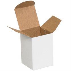 "1 1/2 x 1 1/4 x 2"" White Reverse Tuck Folding Cartons"