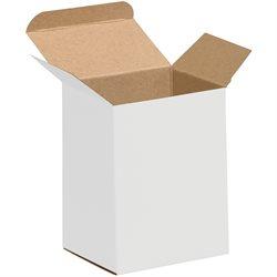 "3 x 2 1/2 x 4"" White Reverse Tuck Folding Cartons"