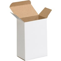 "4 x 2 1/2 x 6"" White Reverse Tuck Folding Cartons"
