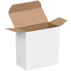 "2 5/8 x 3/4 x 2 5/8"" White Reverse Tuck Folding Cartons"