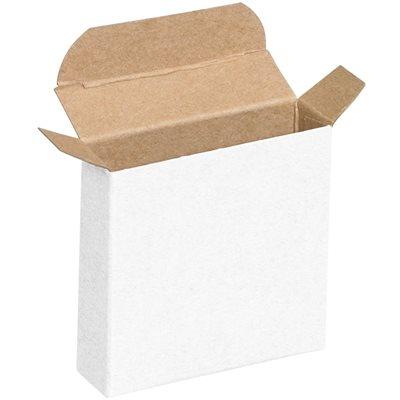 "3 1/4 x 15/16 x 3 1/4"" White Reverse Tuck Folding Cartons"