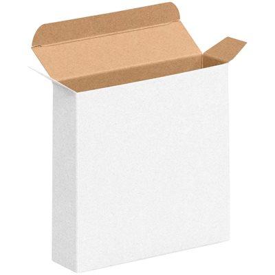 "6 3/8 x 1 1/2 x 6 3/8"" White Reverse Tuck Folding Cartons"