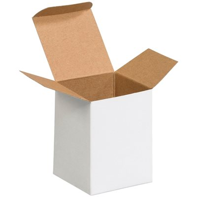 "3 x 3 x 4"" White Reverse Tuck Folding Cartons"