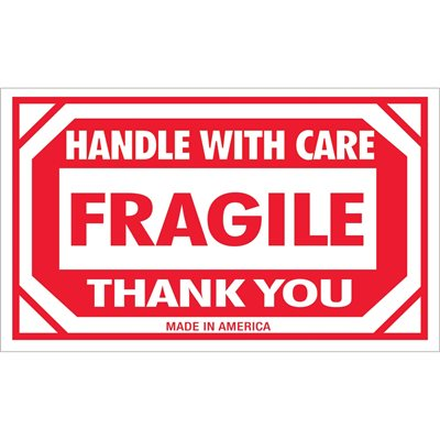"""3 x 5"""" - """"Fragile - Handle With Care"""" Labels"""