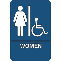 """Women/Accessible"" ADA Compliant Plastic Sign"