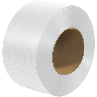 """3/8"""" x 12900' - 8 x 8"""" Core Machine Grade Polypropylene Strapping - Embossed"""