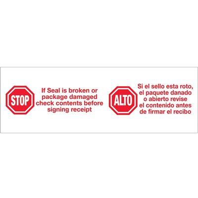 "2"" x 110 yds. - ""Stop / Alto"" (6 Pack) Pre-Printed Carton Sealing Tape"