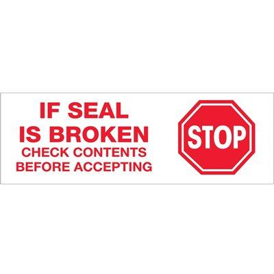 """3"""" x 110 yds. - """"Stop If Seal Is Broken..."""" Tape Logic® Pre-Printed Carton Sealing Tape"""