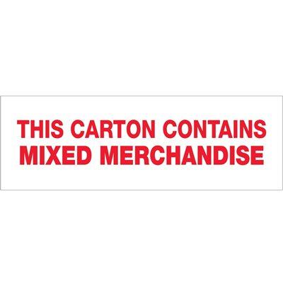 "3"" x 110 yds. - ""Mixed Merchandise"" (6 Pack) Tape Logic® Pre-Printed Carton Sealing Tape"