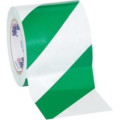 "4"" x 36 yds. Green/White Tape Logic® Striped Vinyl Safety Tape"