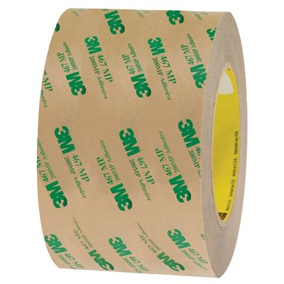 """3"""" x 60 yds. (6 Pack) 3M 467MP Adhesive Transfer Tape Hand Rolls"""