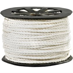 "1/4"", 1,150 lb, White Twisted Polypropylene Rope"