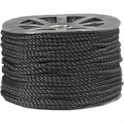 "3/8"", 2,450 lb, Black Twisted Polypropylene Rope"