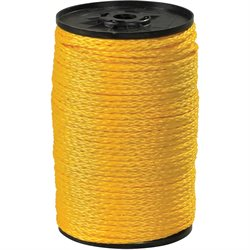 "3/8"", 2,100 lb, Yellow Hollow Braided Polypropylene Rope"