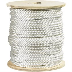 """1/2"""", 5,080 lb, White Twisted Polyester Rope"""