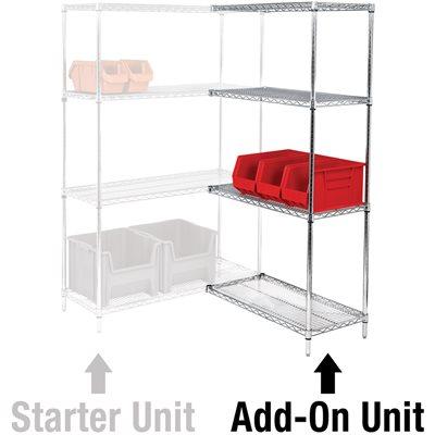"72 x 18 x 84"" - 4 Shelf Wire Shelving Add-On Unit"