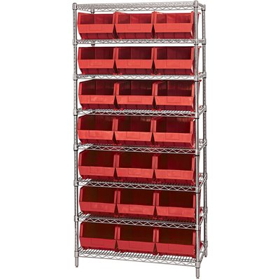 "36 x 18 x 74"" - 8 Shelf Wire Shelving Unit with (21) Red Bins"