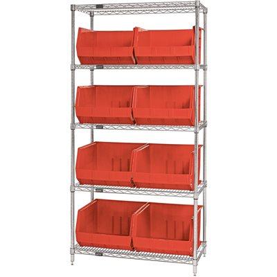 "36 x 18 x 74"" - 5 Shelf Wire Shelving Unit with (8) Red Bins"